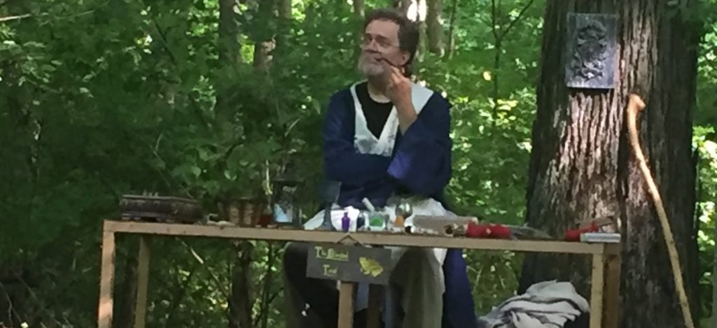 Wizard in the woods thinking
